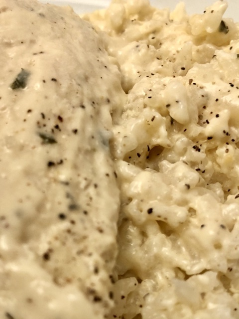 up close shot of the ranch chicken and rice showing the ranch seasoning on the chicken breast