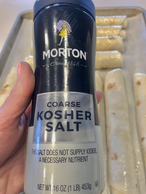 coarse kosher salt used as a topping on buffalo chicken taquitos