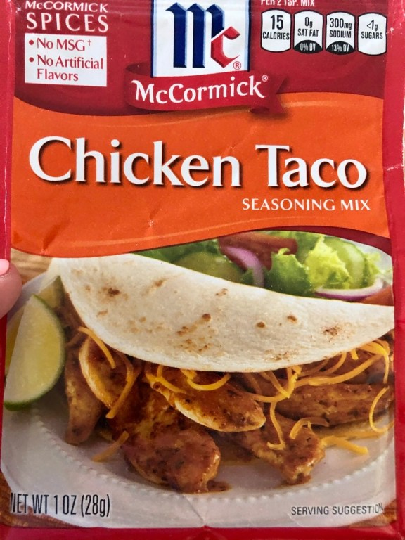 packet of chicken taco seasoning used for grilled chicken