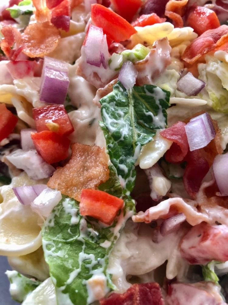 close up shot of BLT Ranch salad