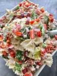 a large serving bowl of easy BLT Ranch Pasta Salad