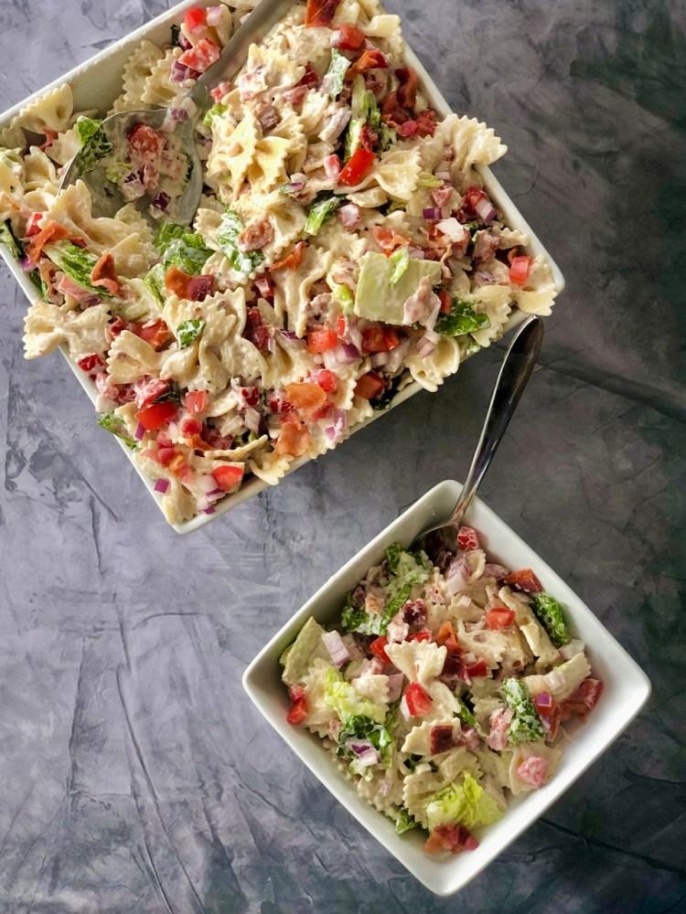 above shot of BLT Pasta Salad