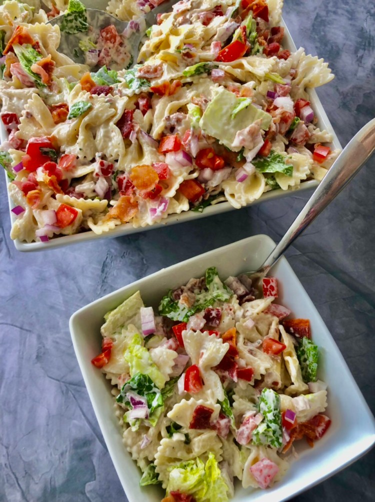 BLT Pasta Salad with Ranch dressing in a bowl for serving
