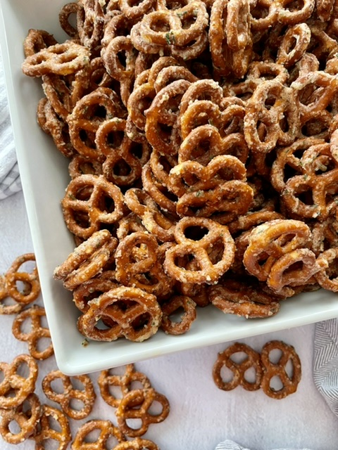 bowl of butter ranch covered pretzels