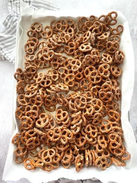 pan of butter ranch pretzels