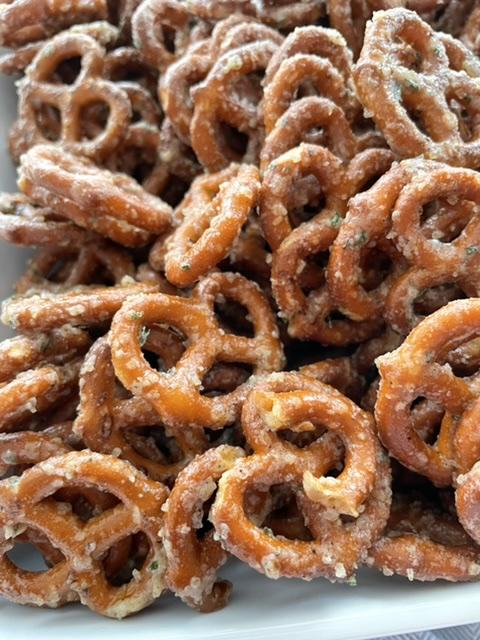 up close shot of butter ranch pretzels