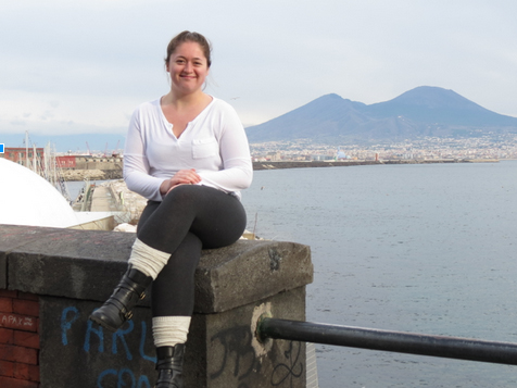 Sophomore Hayley Gearheart with Mount Vesuvius in the background.