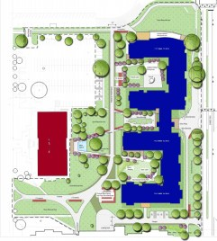 The blue region represents the new student-housing facility set to open in August 2016.