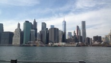 Manhattan skyline from a water taxi's point of view.