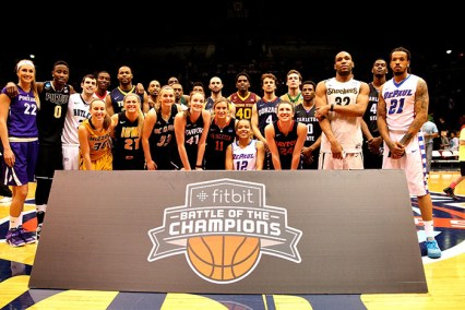 Participants of the State Farm 3-Point Championship. Gonzaga's Kevin Pangos won the men's contest and Portland's Cassandra Brown won the women's contest. She defeated Pangos in the Battle of the Champions.