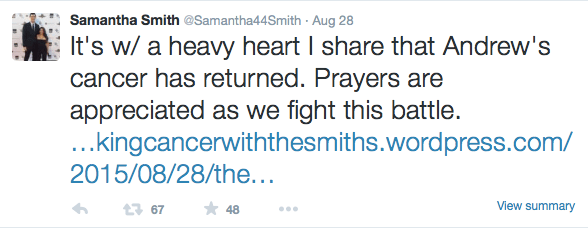 Samantha Smith, wife of former Butler Bulldog Andrew Smith, announced that his cancer has returned.