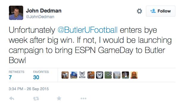 Tweet from Butler SID John Dedman after Butler Football win.