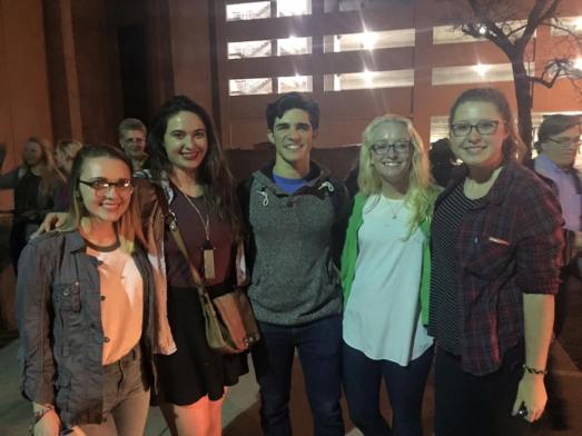 Joey Barreiro, who plays Jack Kelly in Newsies, with Alexis Price, Voris, Catie Liggett and Caysi Johnson. Photo courtesy of Jenna Voris.