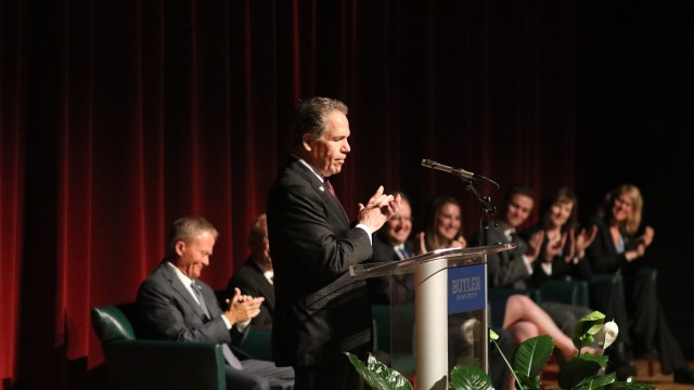 Photo by Jimmy Lafakis President Jim Danko announced a $25 million donation today in the Schrott Center.