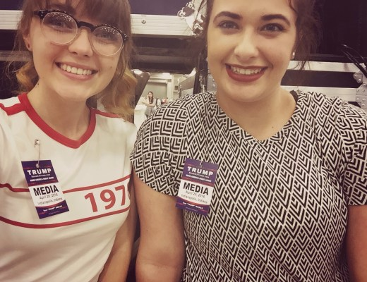 """Price (left) with columnist Jenna Voris at the rally just before Donald Trump told the audience, """"People in the media are some of the most dishonest people you will ever meet."""" Photo courtesy of Alexis Price"""