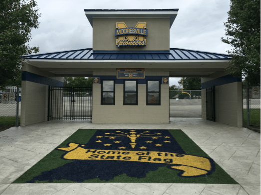 Entrance to the Mooresville High School football field, identical to the turf on the 50-yard-line. Photo by Madi McGuire.