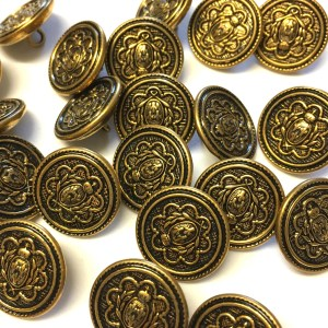 18mm gold metal buttons with coat of arms pattern