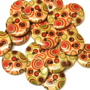 15mm retro swirl pattern wood buttons