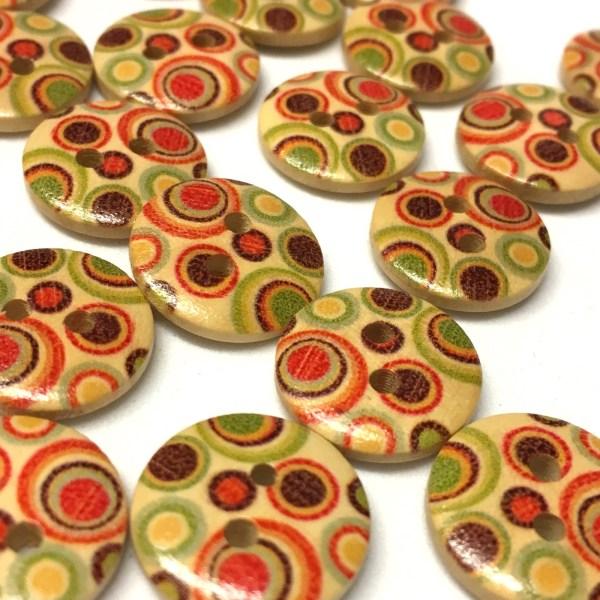 15mm retro swirl pattern wood buttons