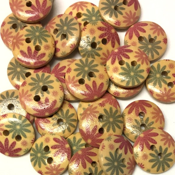 15mm floral starburst wood buttons