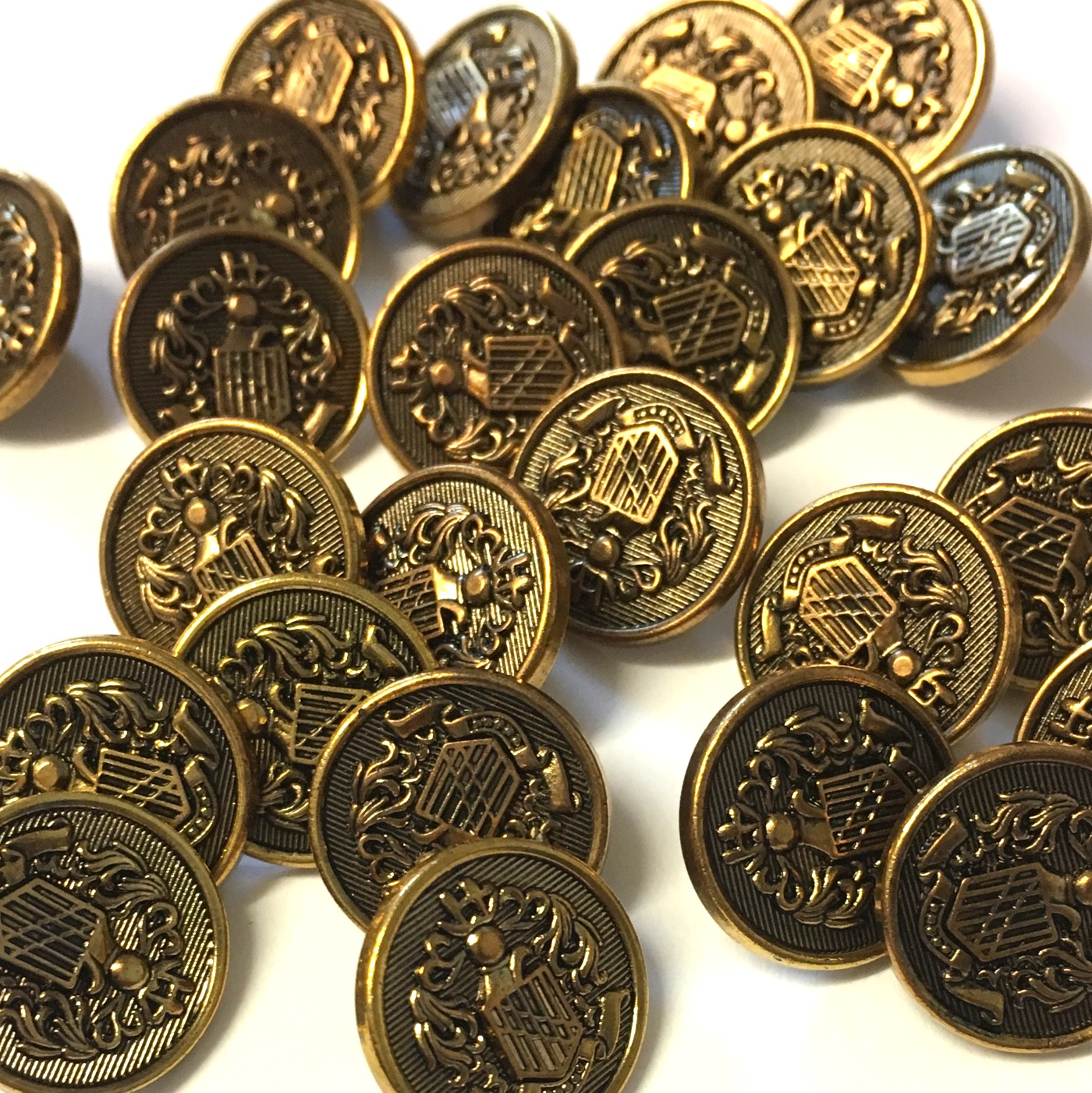15mm bronze metallic coat of arms buttons, 10 pack - The Button Shed