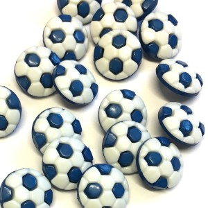 blue and white football buttons
