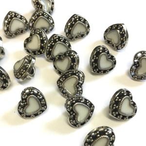 silver heart buttons