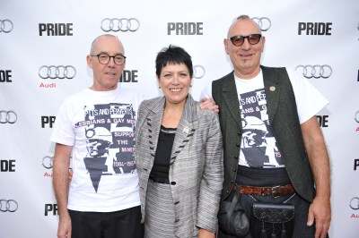 Mike Jackson, Sian James, Jonathan Blake arrive at The Citizen for the film party presented by Audi after the special presentation screening of PRIDE during the Toronto International Film Festival. Photo by: George Pimentel Photography