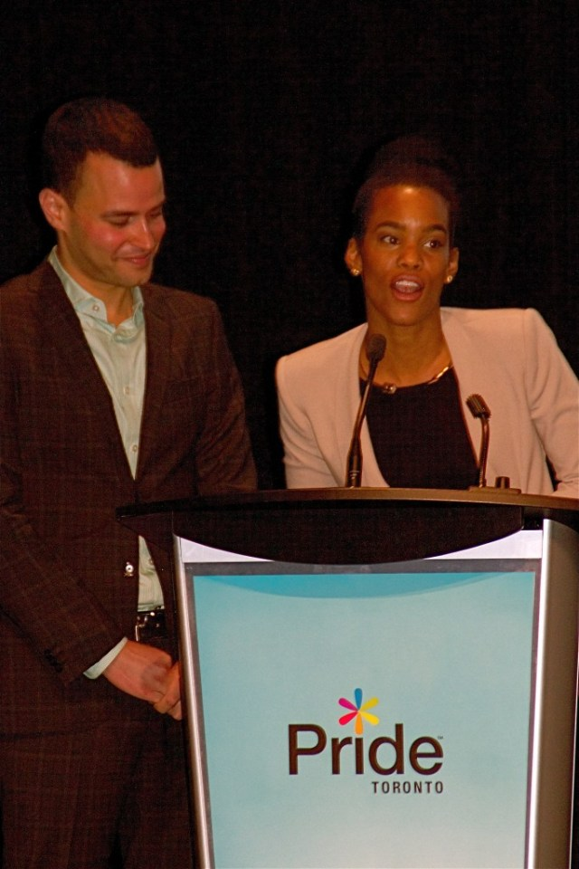 Pride Toronto co chairs Aaron GlynWilliams and Alicia Hall