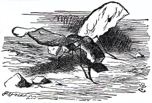 The Bread-and-butter-fly — Illustration to the third chapter of Through the Looking Glass by John Tenniel.