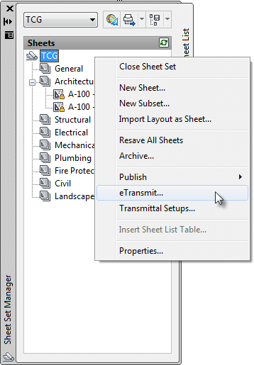 Accessing the eTransmit command within Sheet Set manager