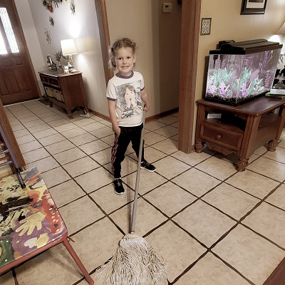 kids mopping, how to give kids chores