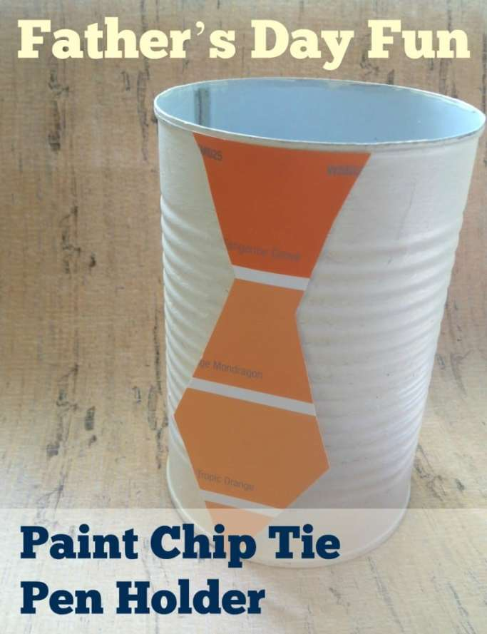 fathers day gift make from soup can and a tie cut out from paint swatch