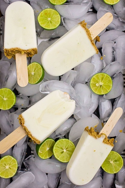 popsicles on bed of ice with key limes