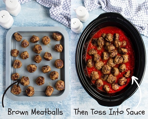 Collage of a pan of browned meatballs and a crockpot with sauce with the meatballs placed into the sauce