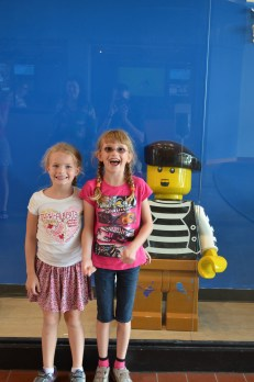 Abby and Ava in front of Lego Pirate
