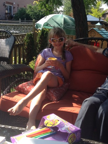 Abby with her Egg Tart enjoying the beautiful day.