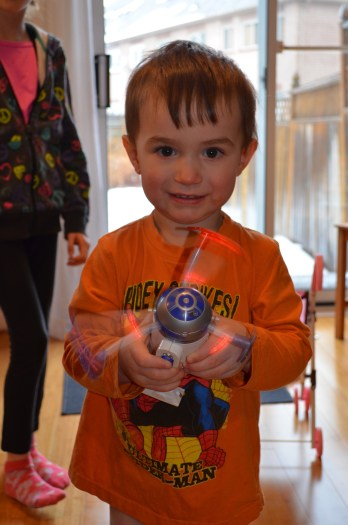 Macklan playing with R2D2