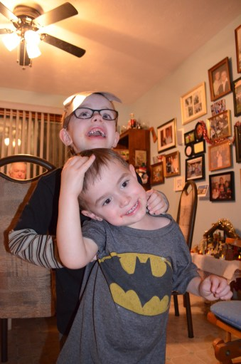 Aiden and his little cousin Macklan getting ready for bed.
