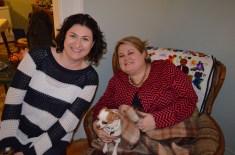 Megan, Melissa & Ernie resting in Jackie's living room.