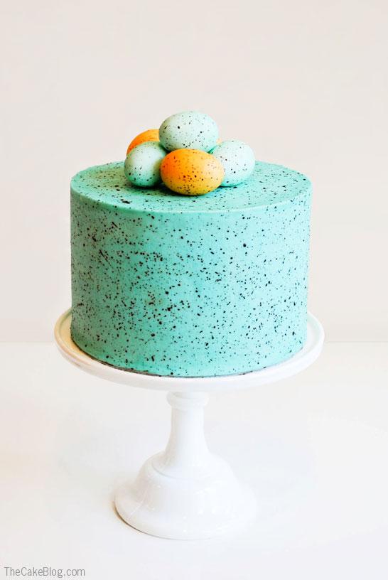 DIY Speckled Robin's Egg Cake  |  TheCakeBlog.com