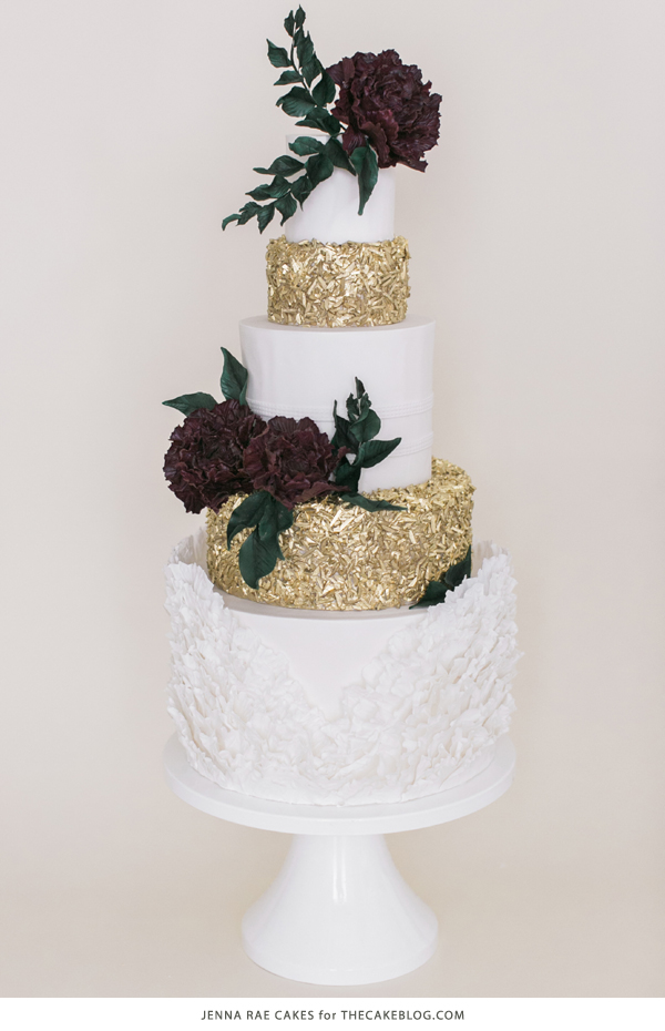 2015 Wedding Cake Trends 2015 Wedding Cake Trends   including this gold   marsala sequin cake by  Jenna Rae Cakes