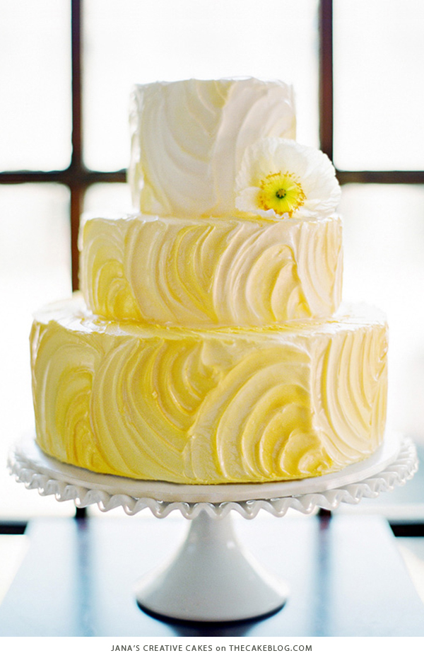 10 Brilliant Yellow Cakes 10 Yellow Wedding Cakes   including this design by Jana s Creative Cakes    on TheCakeBlog