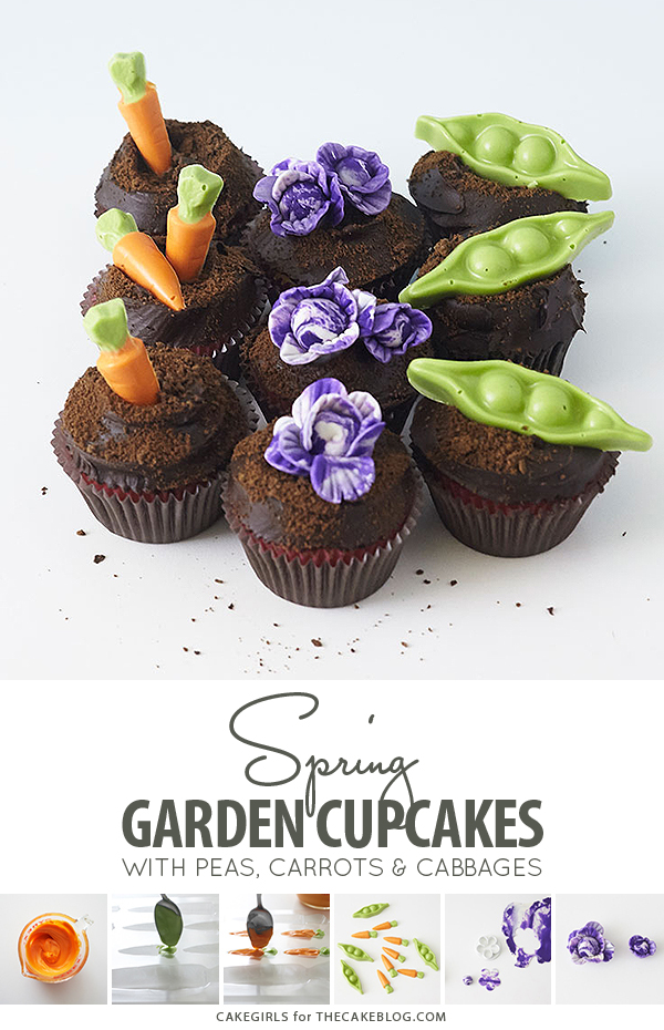 Garden Cupcakes - learn how to make these spring garden themed cupcakes | by Cakegirls for TheCakeBlog.com
