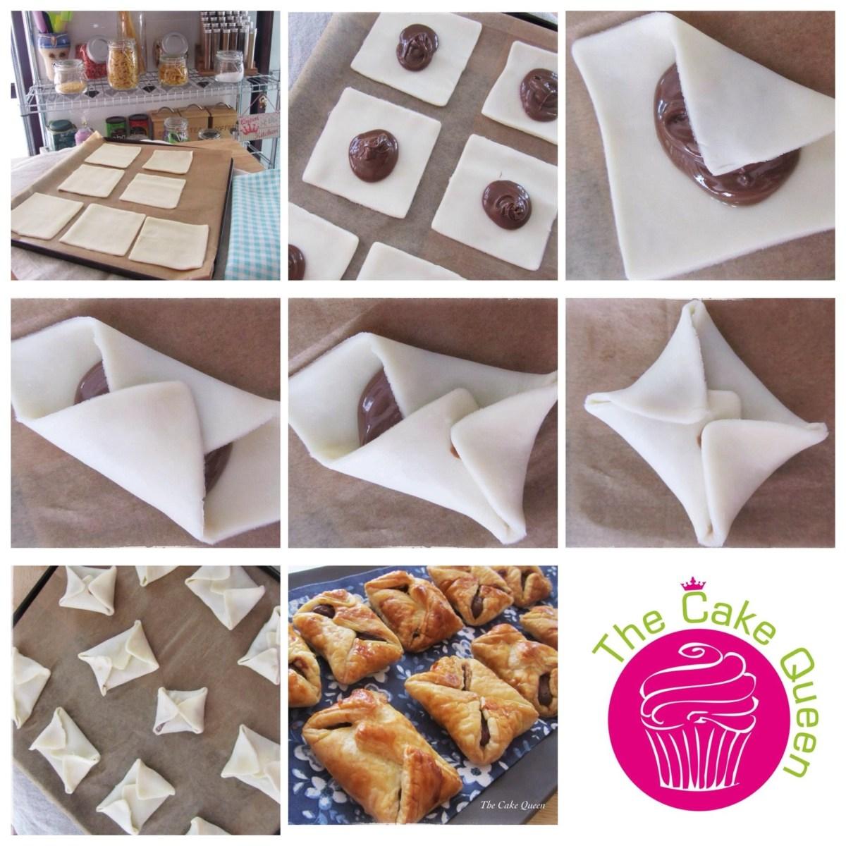 Collage de los sobres de hojaldre rellenos de nutella