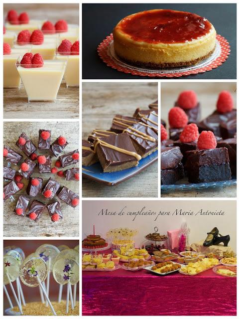 Collage con los postres que formaron parte de la mesa dulce que preparé para el concurso organizado por Goyo, que además fue la mesa dulce que preparé para celebrar el cumple de mi profe de flamenco