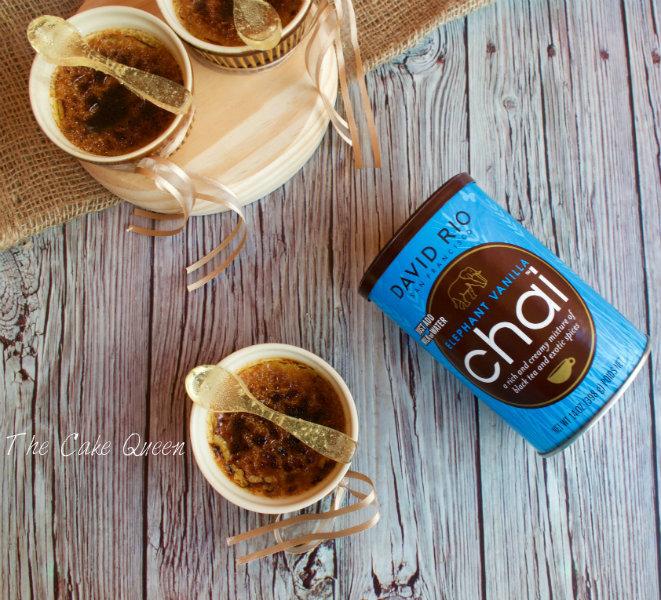 Crème Brulée de Chai Vainilla y el bote del té de vainilla de David Rio Chai
