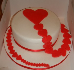 Endless love hearts valentine cake
