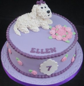 Bichon Dog Birthday cake