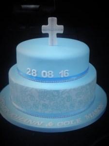 Custom Christening cake to match invitations